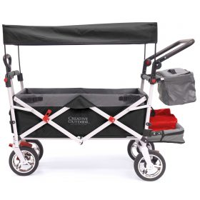 PUSH PULL SILVER SERIES PLUS FOLDING WAGON STROLLER WITH CANOPY | BLACK