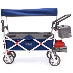 PUSH PULL SILVER SERIES PLUS FOLDING WAGON STROLLER WITH CANOPY | NAVY BLUE