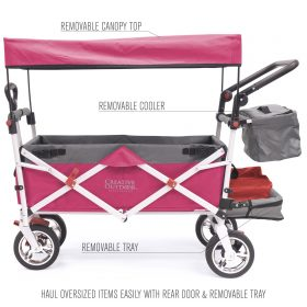 PUSH PULL SILVER SERIES PLUS FOLDING WAGON STROLLER WITH CANOPY | PINK