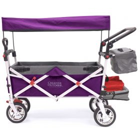 PUSH PULL SILVER SERIES PLUS FOLDING WAGON STROLLER WITH CANOPY | PURPLE